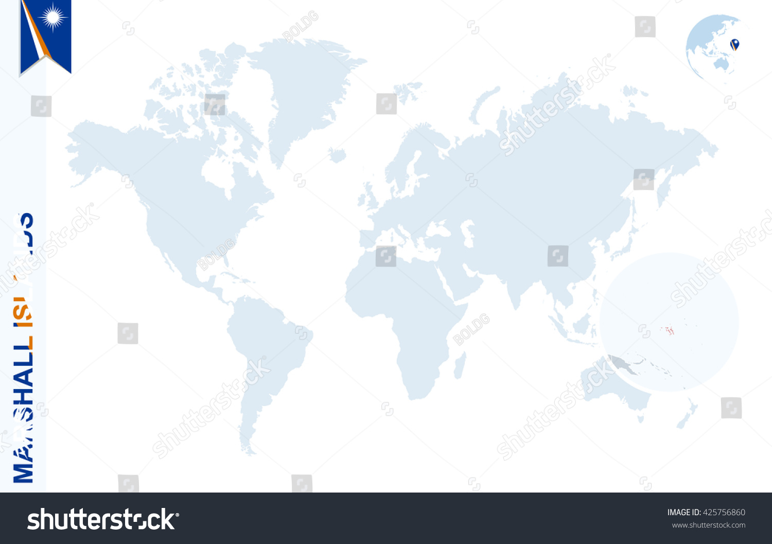World Map Magnifying On Marshall Islands Stock Vector (Royalty Free ...