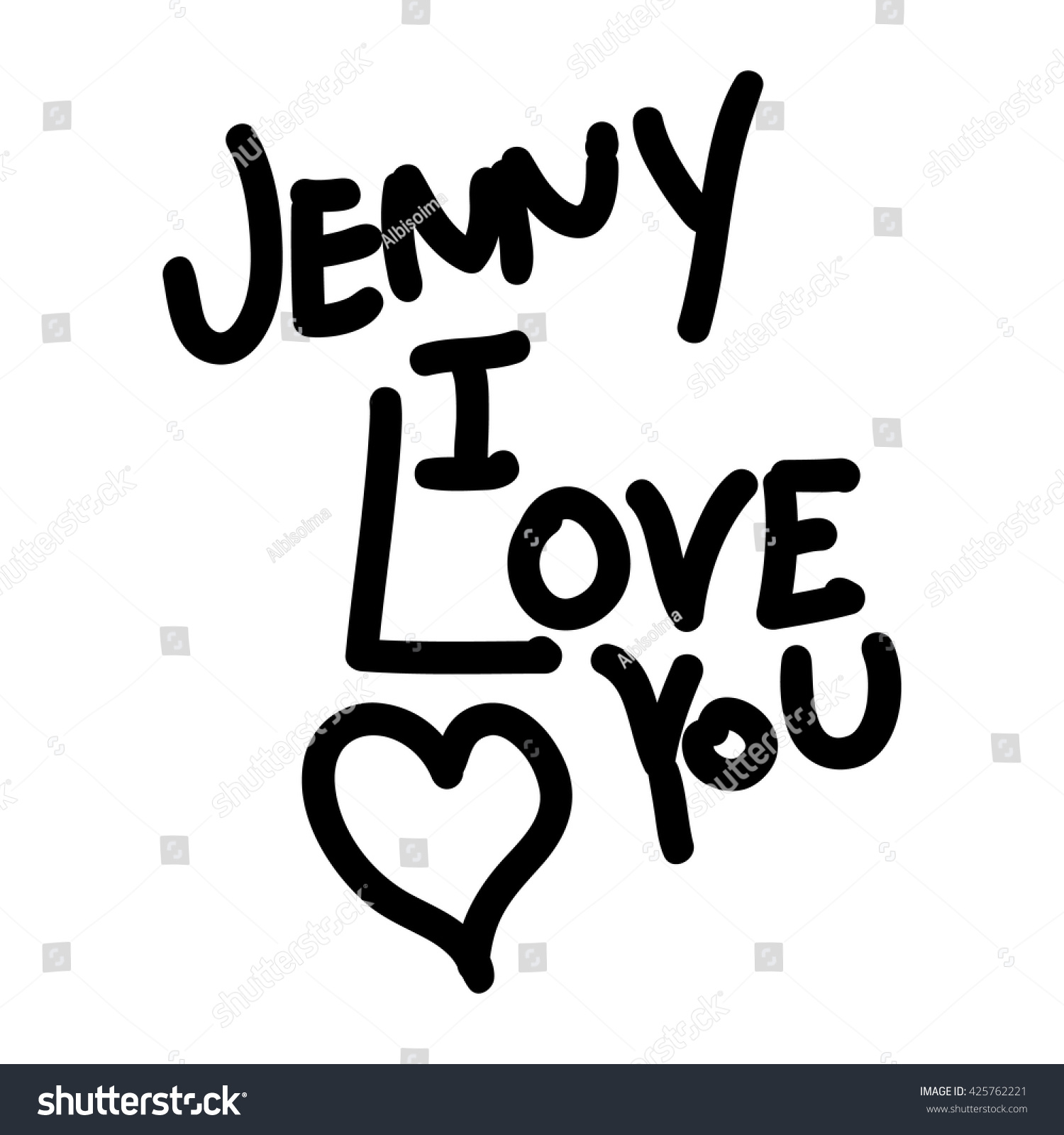 Text Jenny Love You Declaration Love Stock Vector