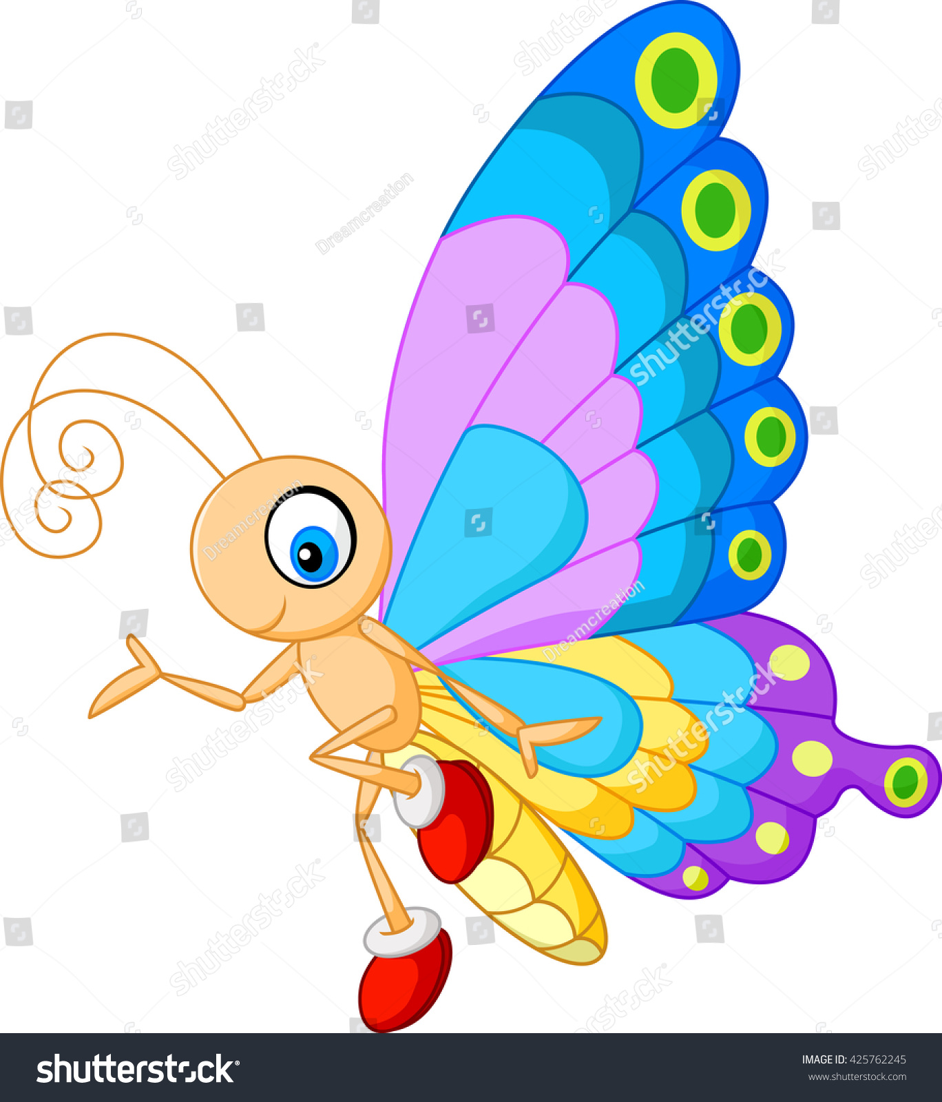 cute butterfly cartoon presenting stock vector 425762245