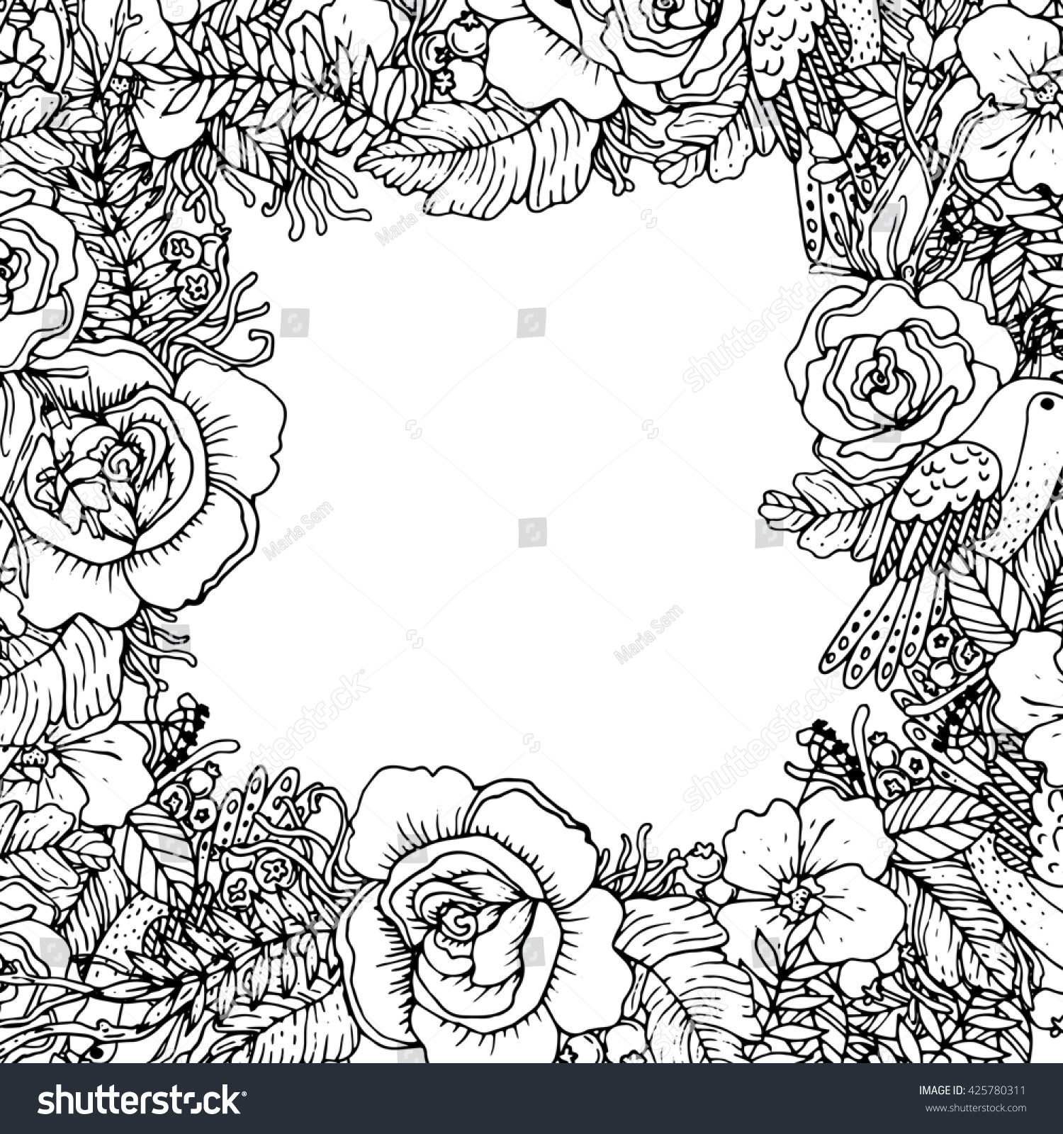 Botanical art coloring book - Beautiful Botanical Frame With Bird And Flowers Perfect For Invitations Cards Posters Or