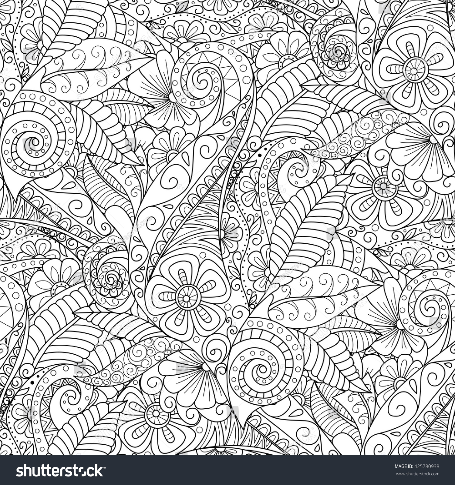 stock vector black and white seamless floral background design for adults and older children coloring book