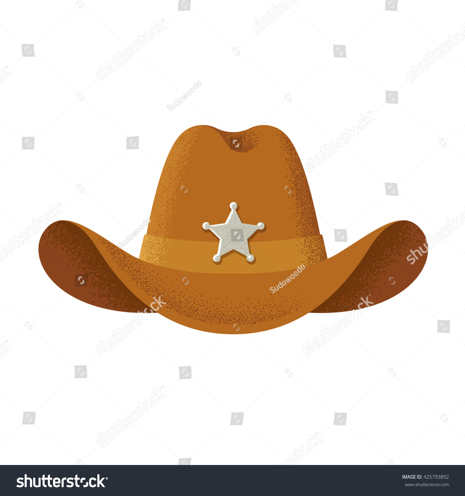 af07305bee9 Cowboy Hat Sheriff Star Badge Vintage Stock Vector (Royalty Free ...