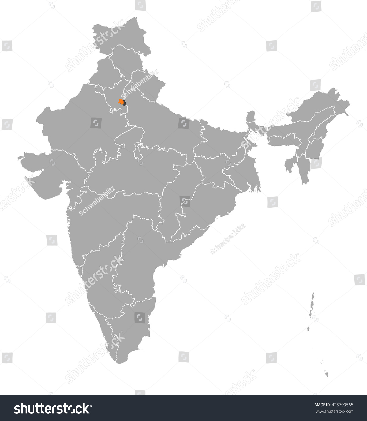 Map india national capital region stock vector 425799565 shutterstock map india national capital region gumiabroncs Images