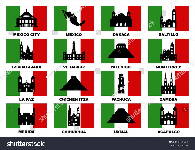Vector Symbols Mexico Famous Places Mexico Stock Vector