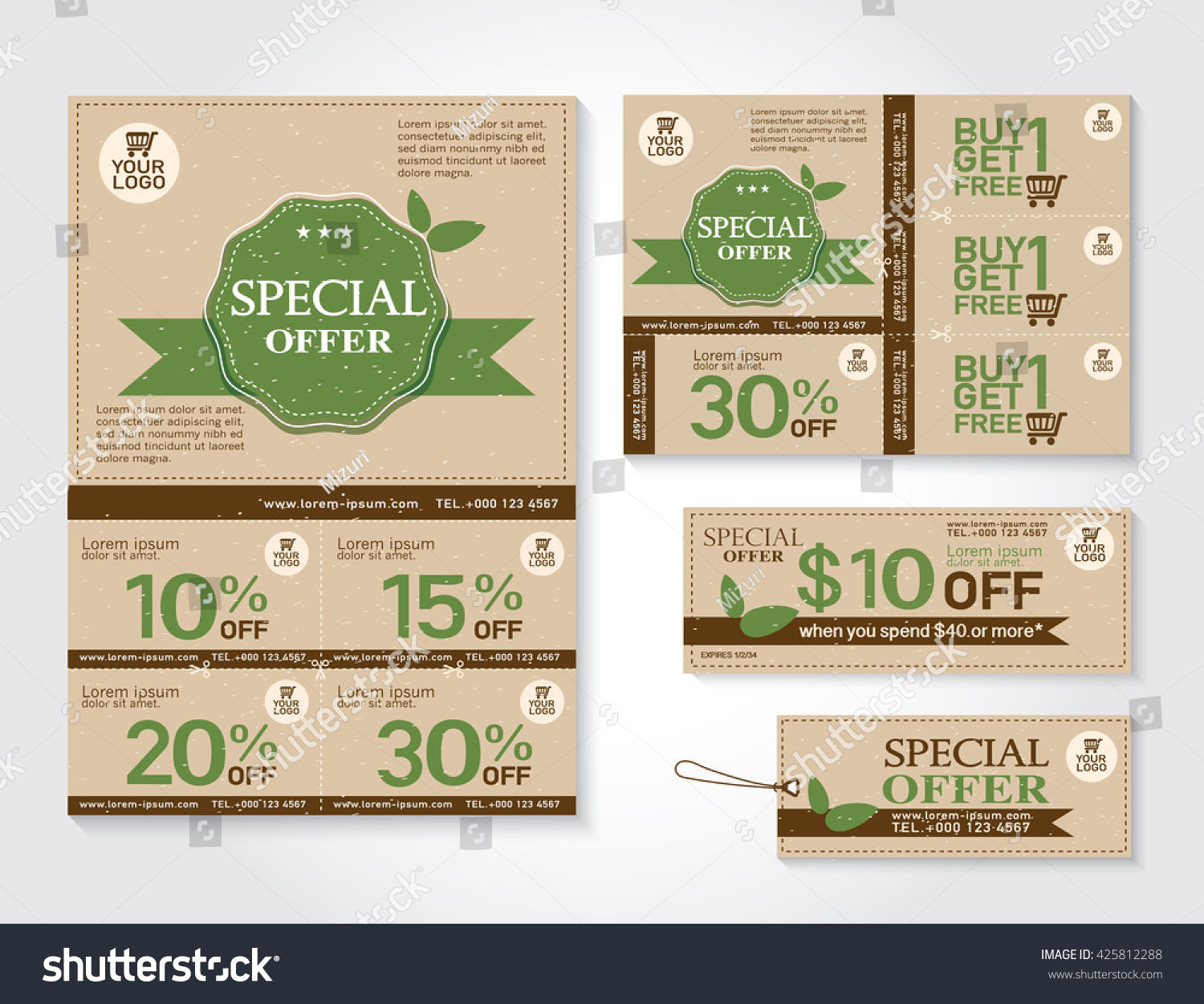 Vector Eco Flyer Brochure Promotions Coupon Vector 425812288 – Coupon Flyer