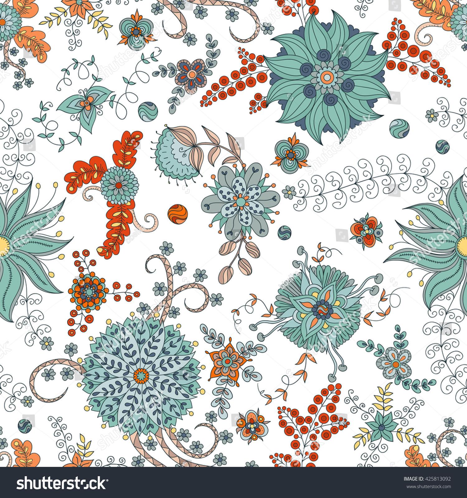 Vector Flower Pattern Colorful Seamless Botanic Stock Illustration