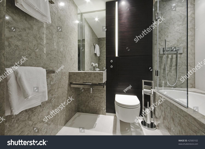 luxury modern bathroom with marble and eben wood