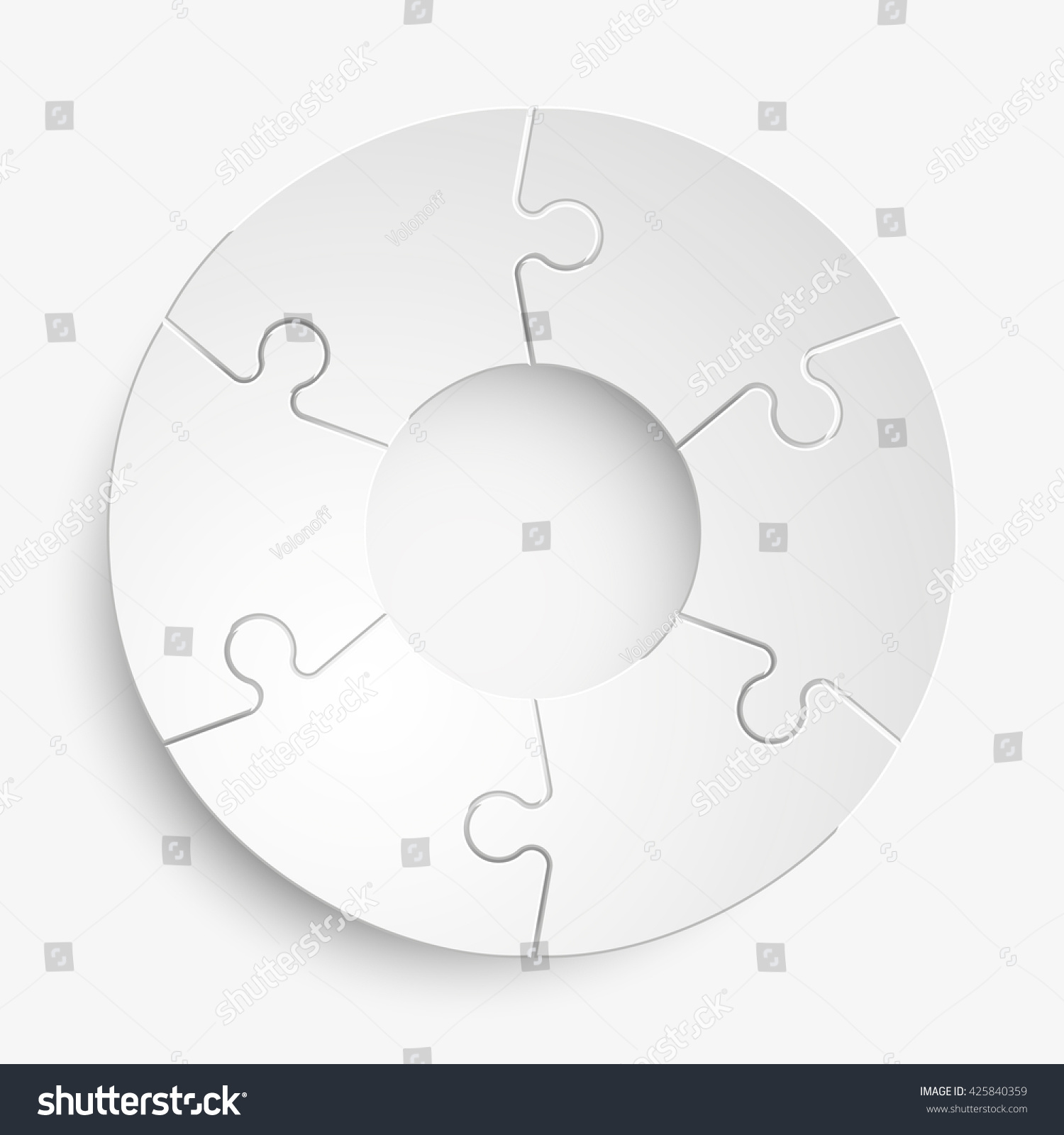 Six Piece Flat Puzzle Round Infographic Stock Vector 425840359 ...