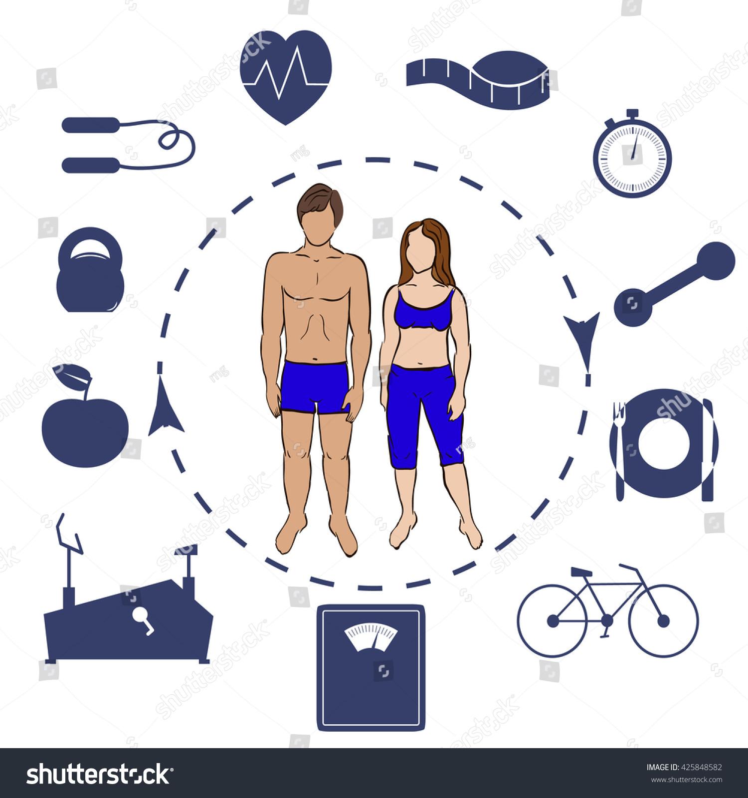 Set Symbols Fitness People Stock Vector 425848582 Shutterstock