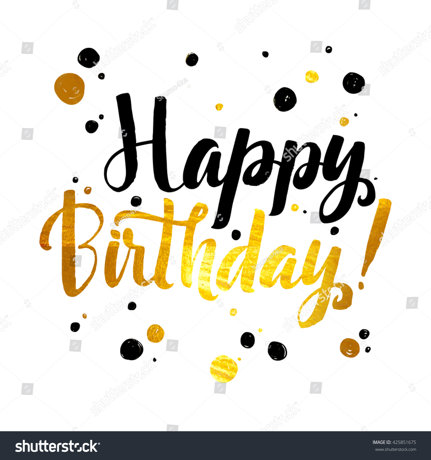 Happy Birthday Gold Foil Calligraphic Message Stock Vector (Royalty ...