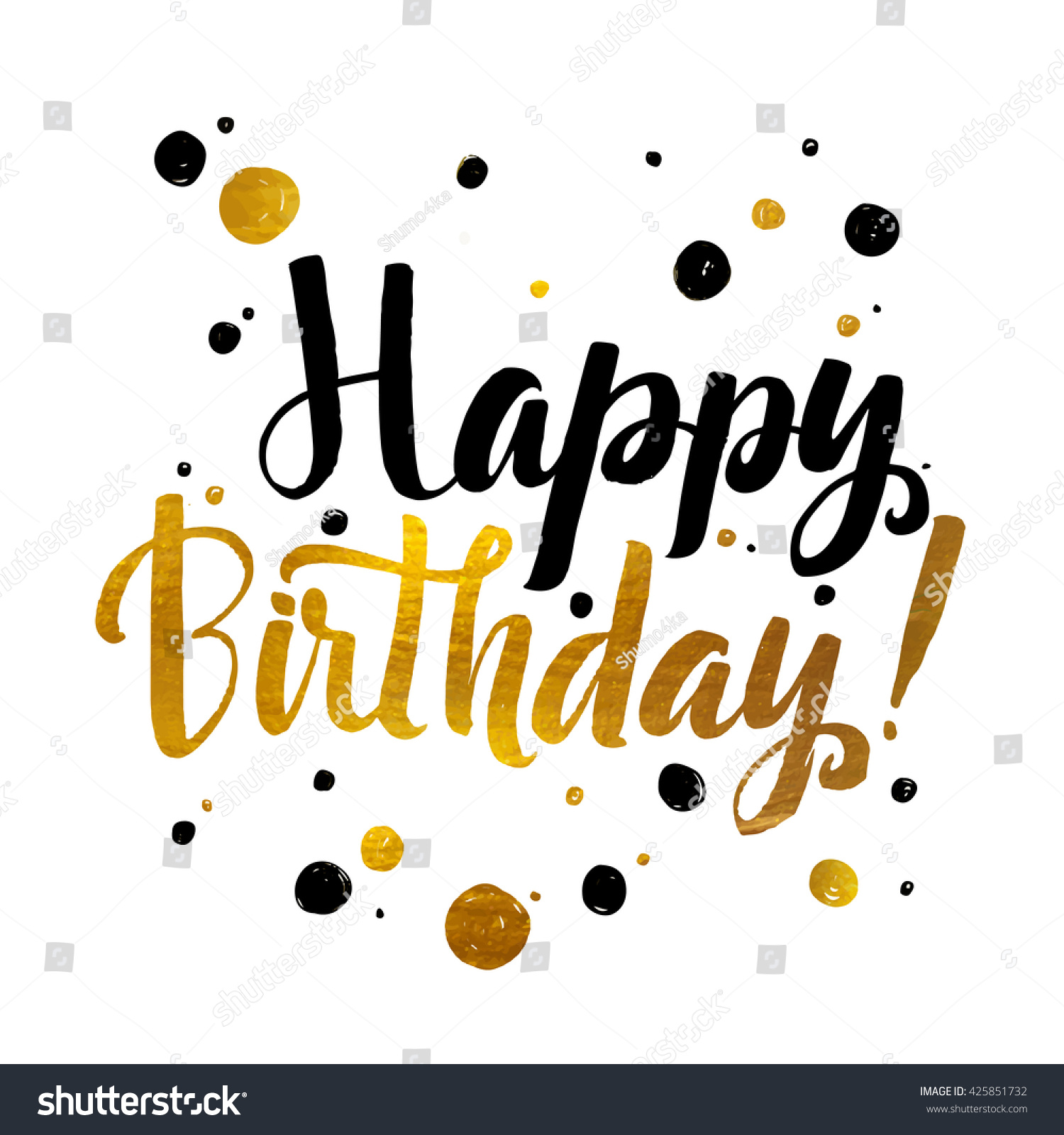 graphic regarding Happy Birthday Lettering Printables referred to as Joyful Birthday Gold Foil Calligraphic Information Inventory Vector