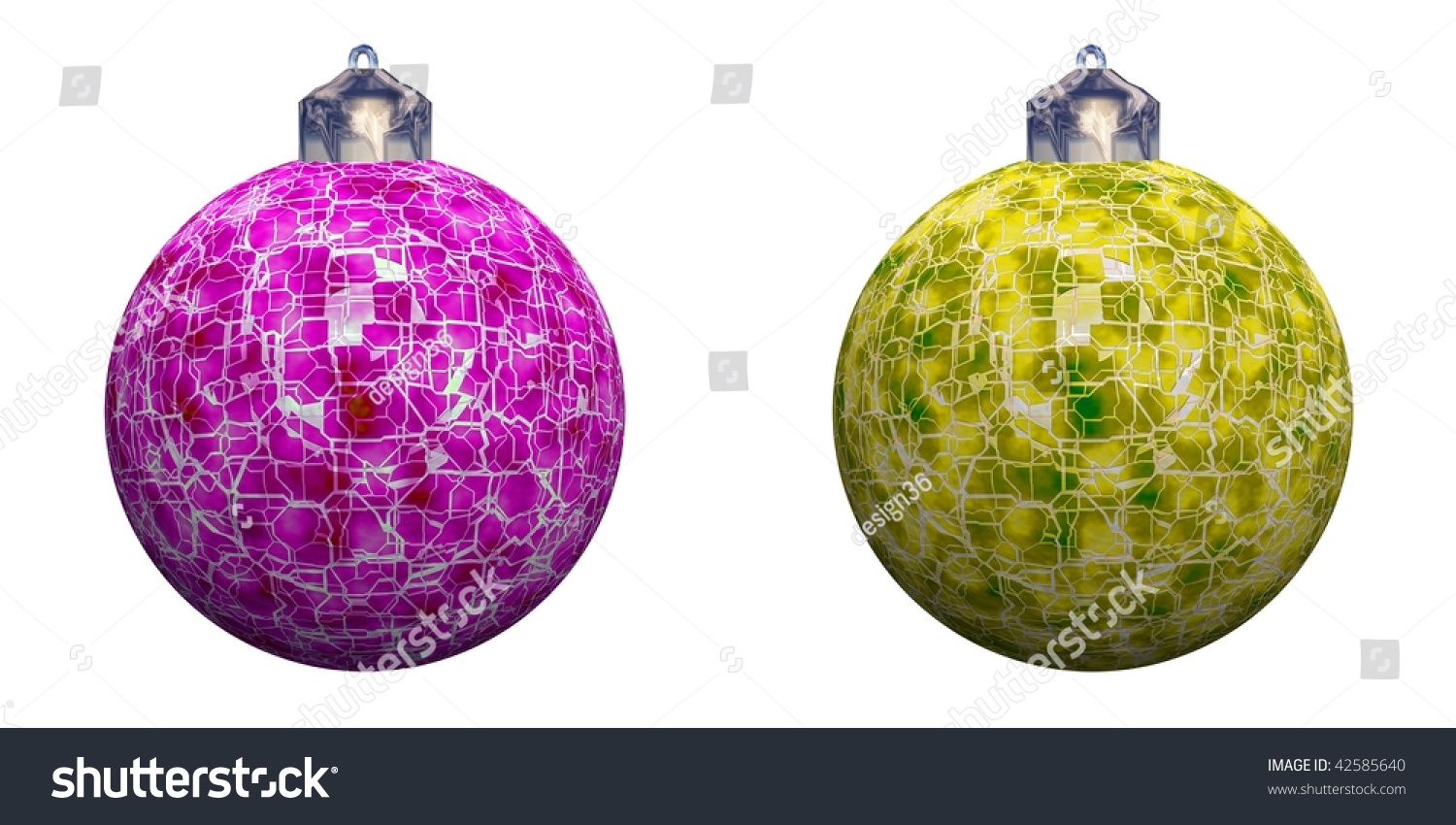 High resolution christmas ornaments rendered maximum stock