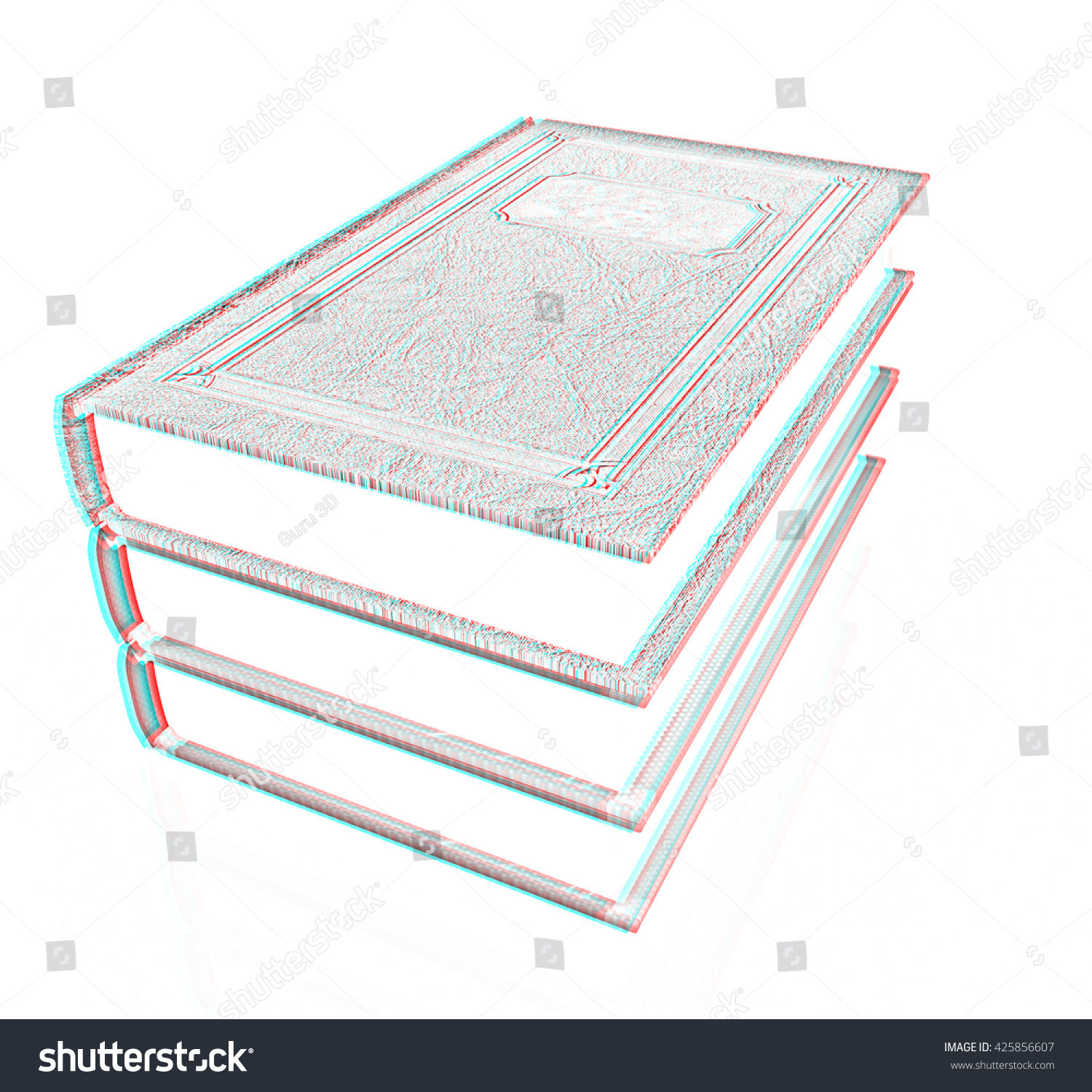 The stack of books on a white background pencil drawing 3d illustration anaglyph