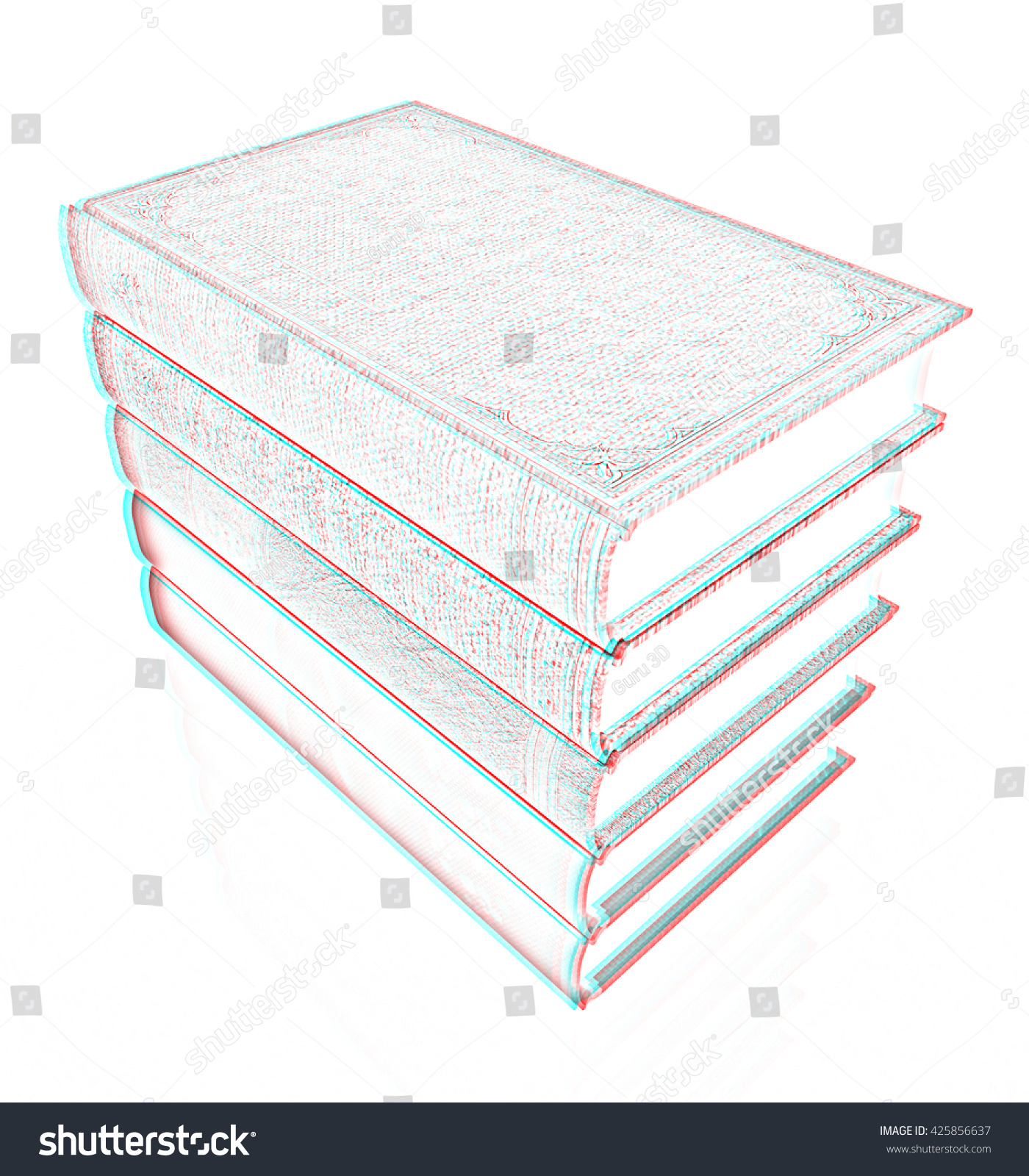 The stack of books on a white background pencil drawing 3d illustration anaglyph view with red cyan glasses to see in 3d ez canvas