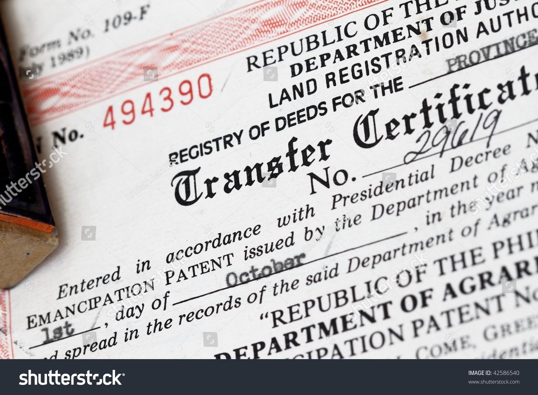 transfer certificate title concept register deeds stock