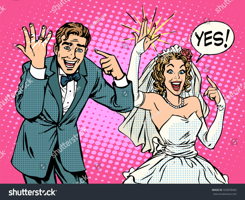 Happy Bride Groom Wedding Rings Stock Illustration 425878483 ...