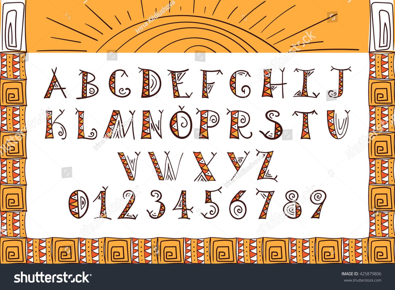 Tribal Font Ethnic Alphabet Vector African Stock Vector Royalty
