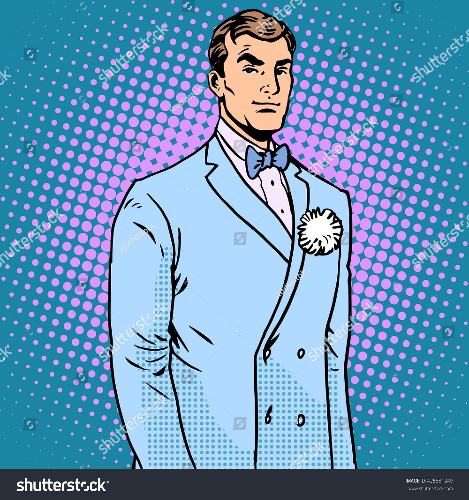 Groom Wedding Suit Stock Illustration 425881249 - Shutterstock