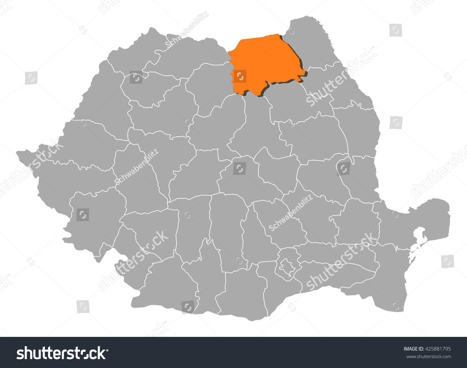 Map Romania Suceava Stock Vector 425881795 Shutterstock