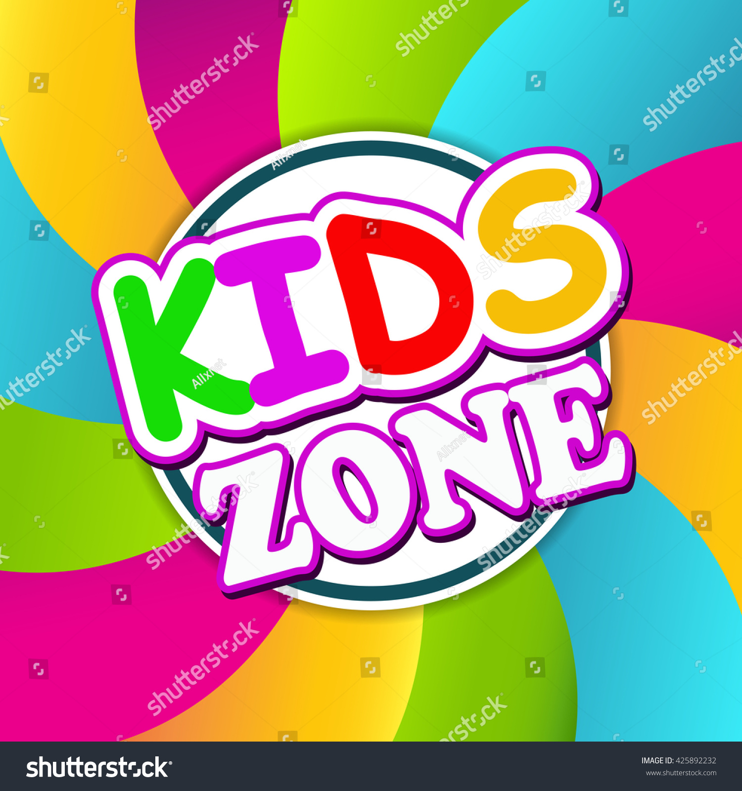 Kids Zone Children Playground Playground School Stock Vector (2018 ...