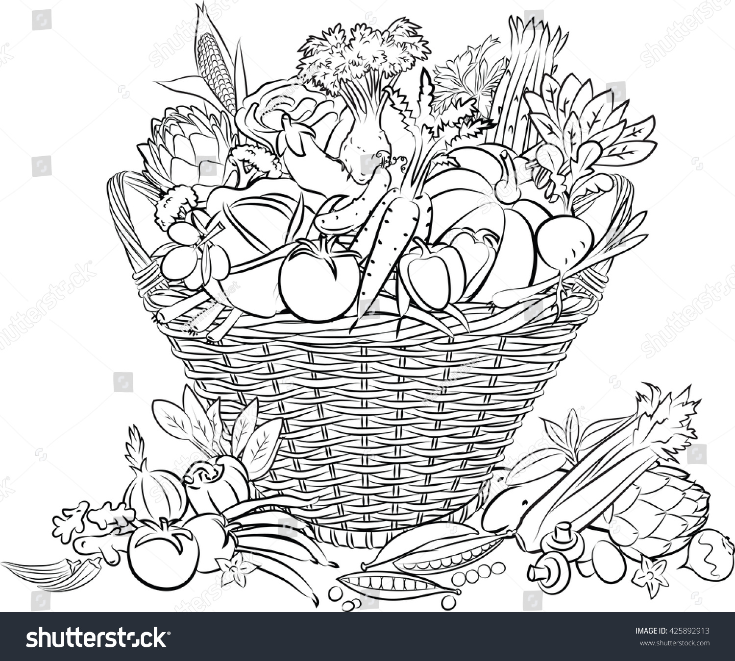 Line Art Vegetables : Vector illustration basket full vegetables line stock