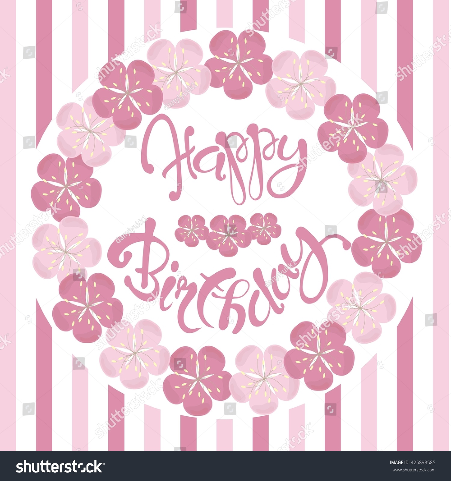 Beautiful Vintage Floral Happy Birthday Congratulation Card Hand Draw Pink Flowers Lettering Vector