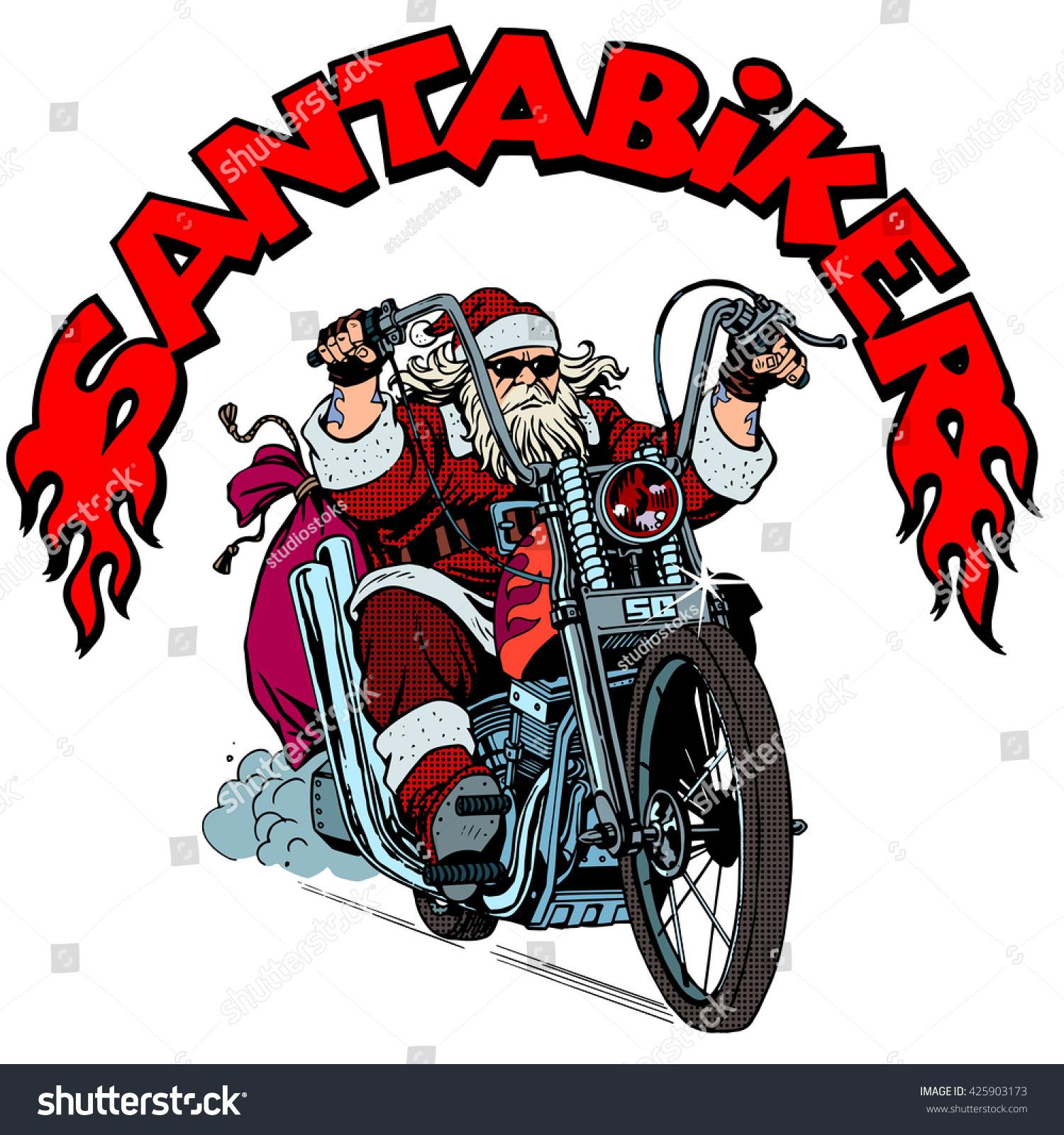 Santa Claus biker motorcycle Christmas gifts | EZ Canvas