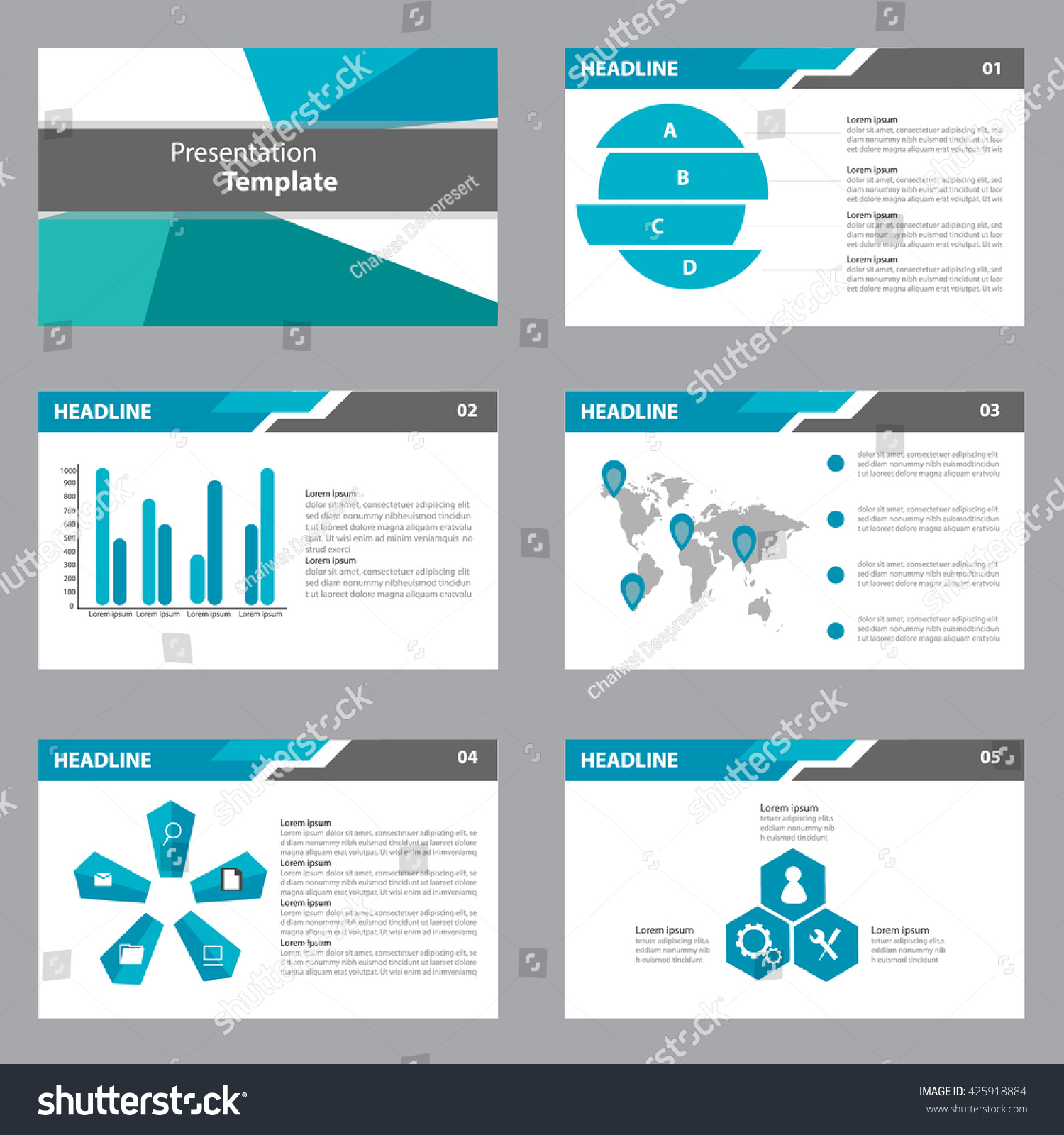 infographic brochure template - blue black presentation template infographic elements