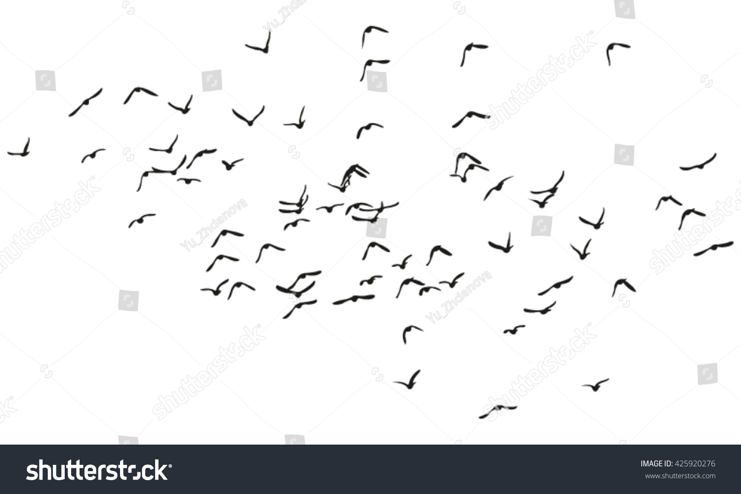 Flock Flying Birds Vector Silhouette 425920276