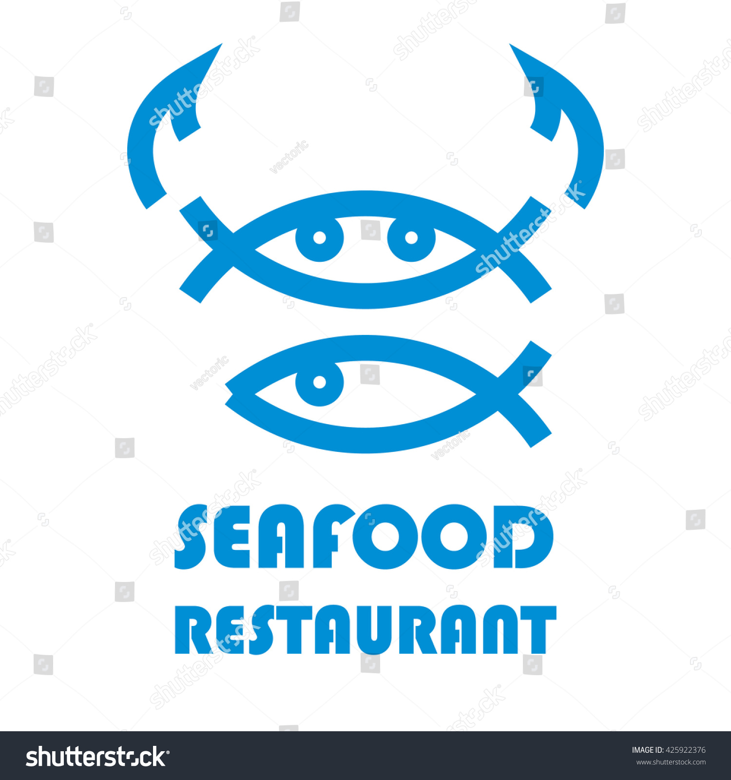 Seafood restaurant logo design stock vector illustration