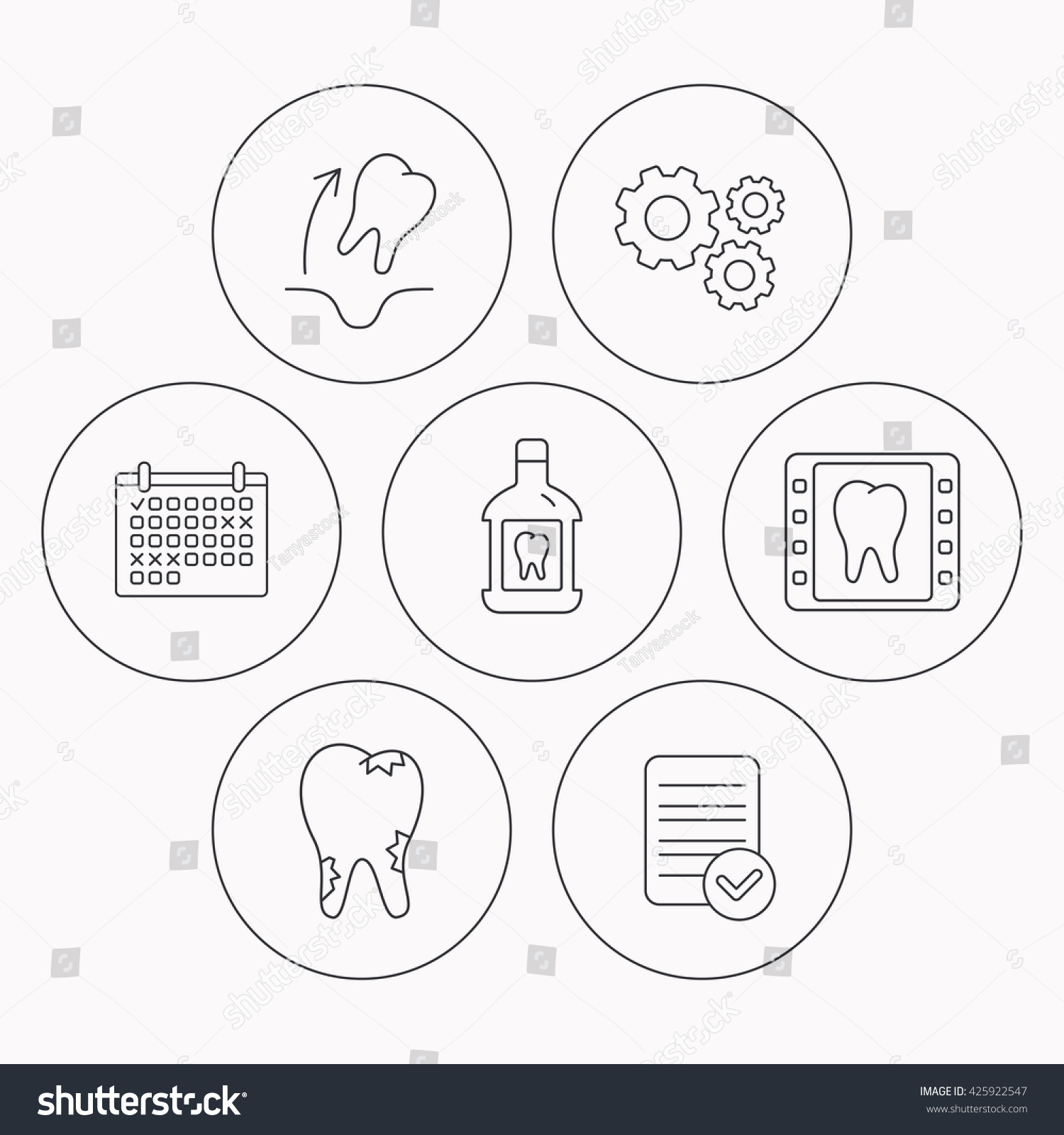 Tooth extraction caries and mouthwash icons Dental x-ray linear sign Check file calendar and cogwheel icons Vector