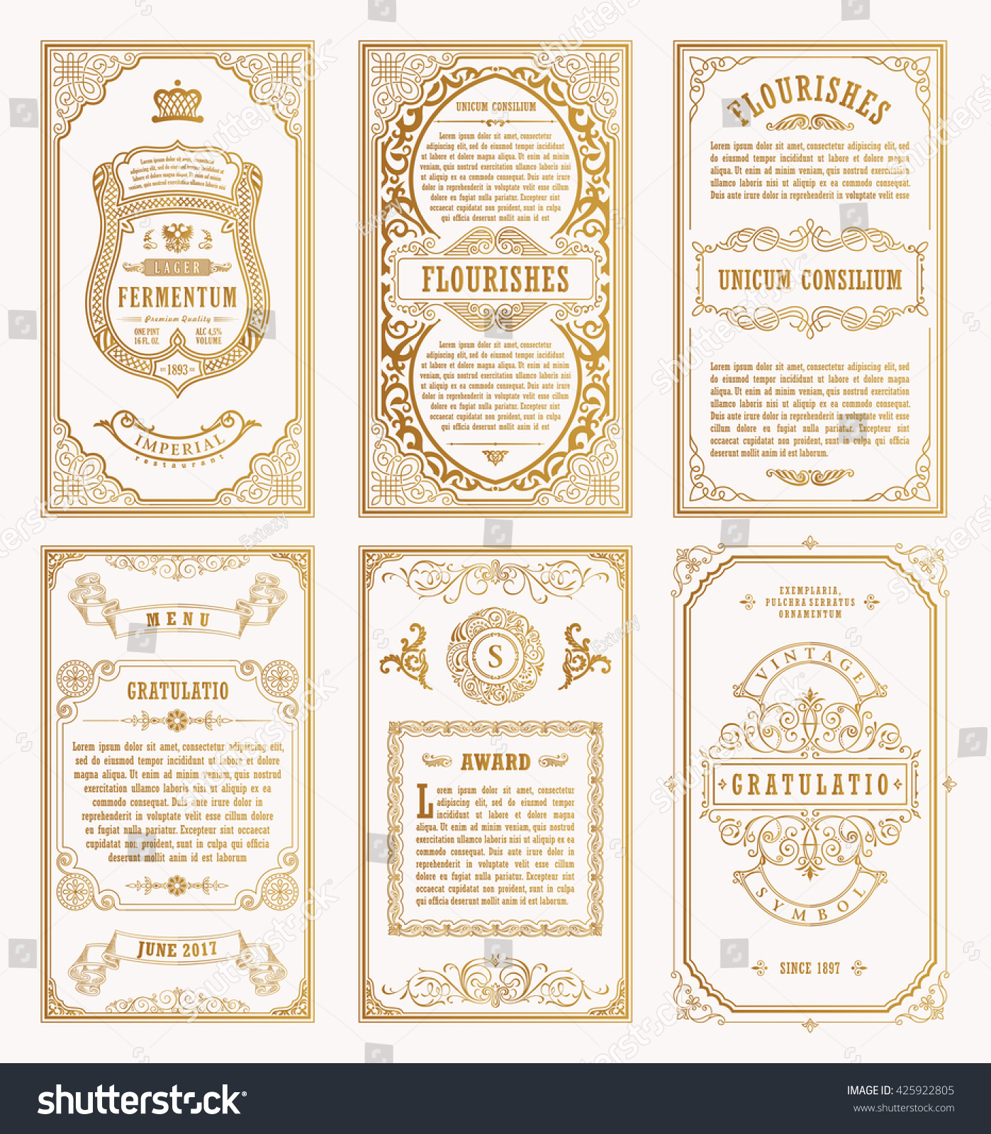 Line Card Examples: Vintage Gold Vector Set Retro Cards Stock Vector 425922805