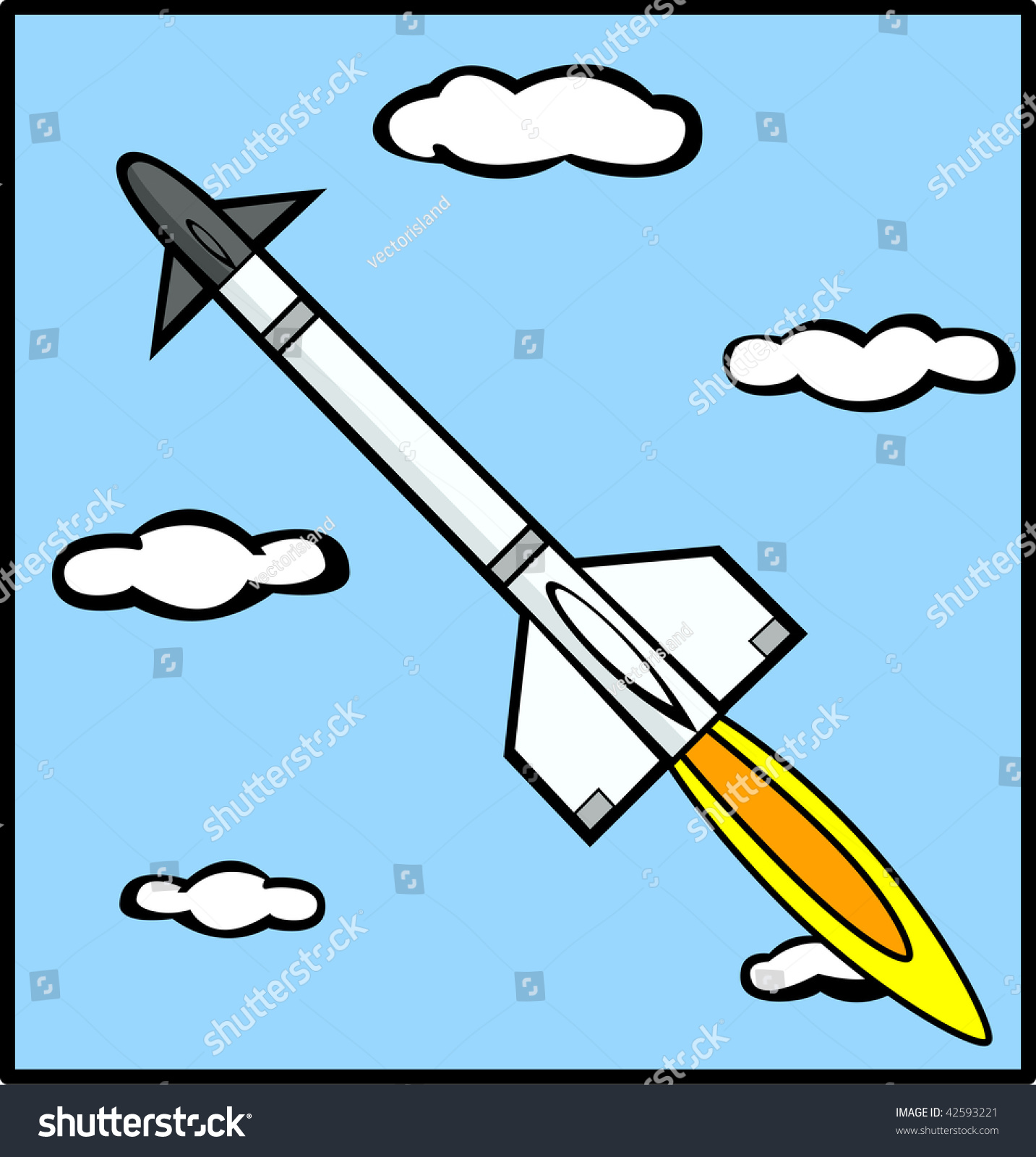 Rocket Missile Flying In The Sky Stock Photo 42593221
