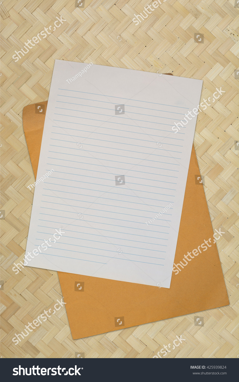 Blank Line Paper Envelope Over Bamboo Stock Photo 425939824 ...