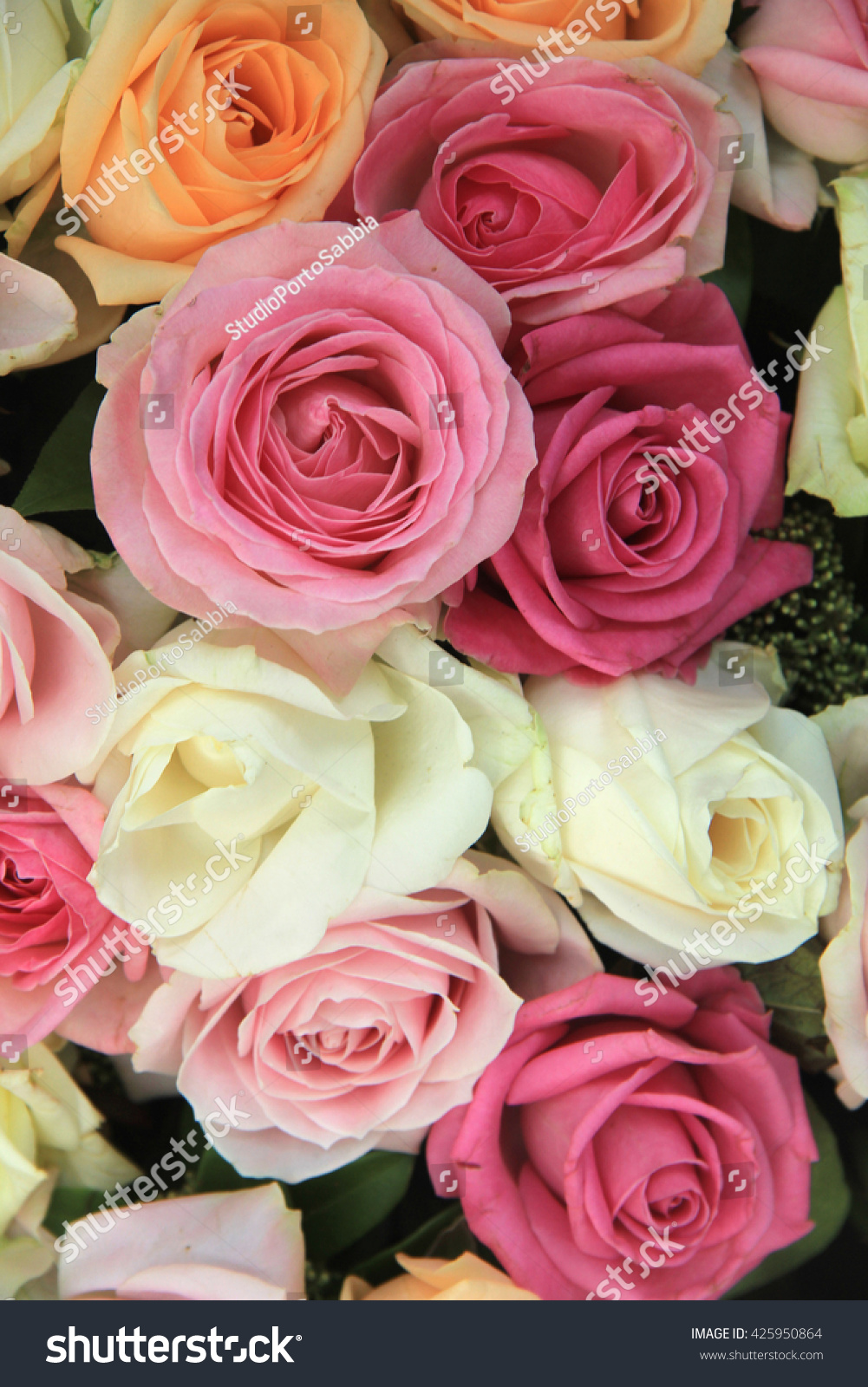 Wedding Flowers In Different Shades Of Pink And Red Roses Ez Canvas