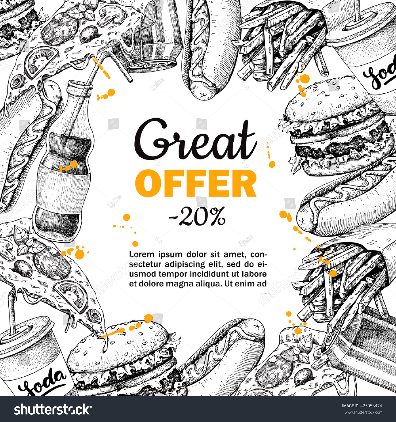 Vector Vintage Fast Food Special Offer Stock Vector
