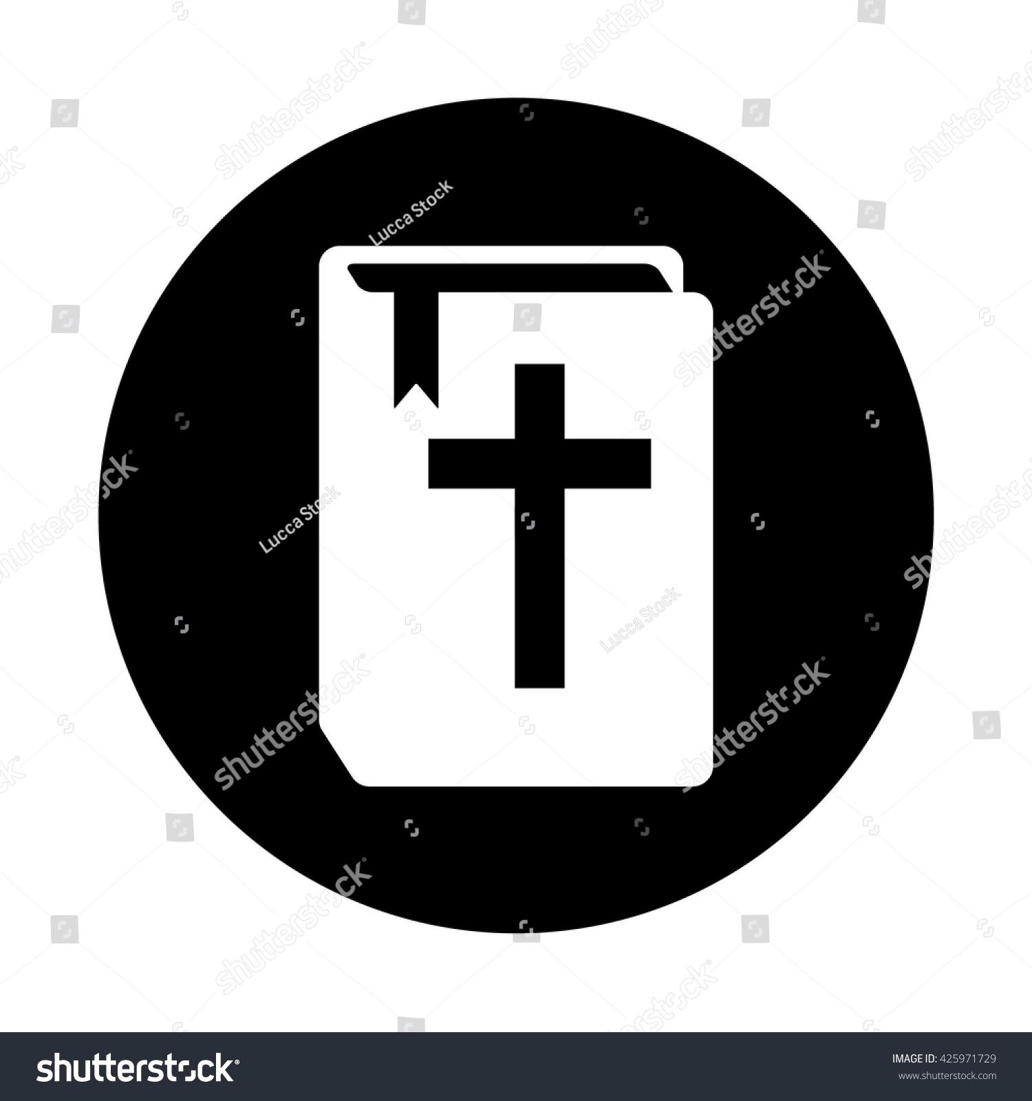 white book christian cross holy bible stock vector 425971729