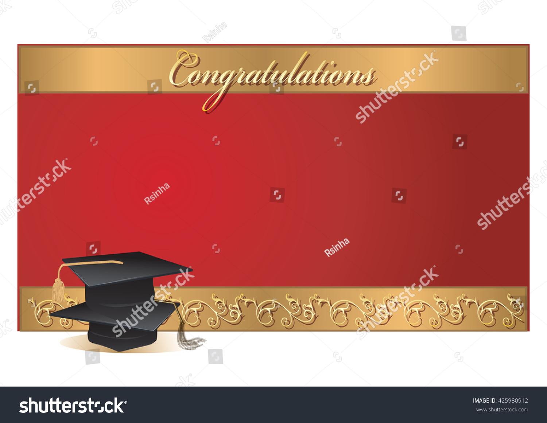 Graduation Invitation Card Graduation Caps Vector Stock Vector ...