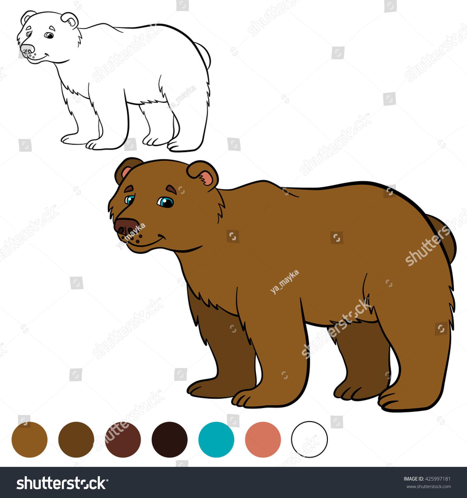 Coloring page. Cute brown bear smiles. | EZ Canvas