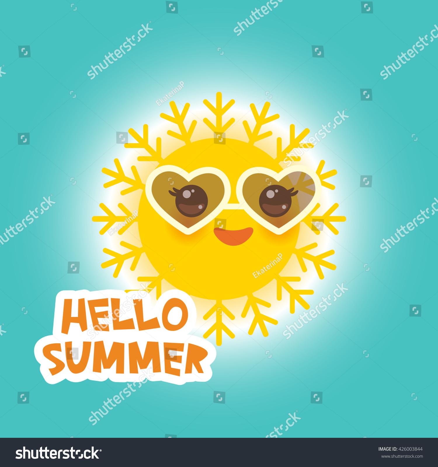 Hello Summer Kawaii Funny Yellow Sun Stock Vector 426003844   Shutterstock