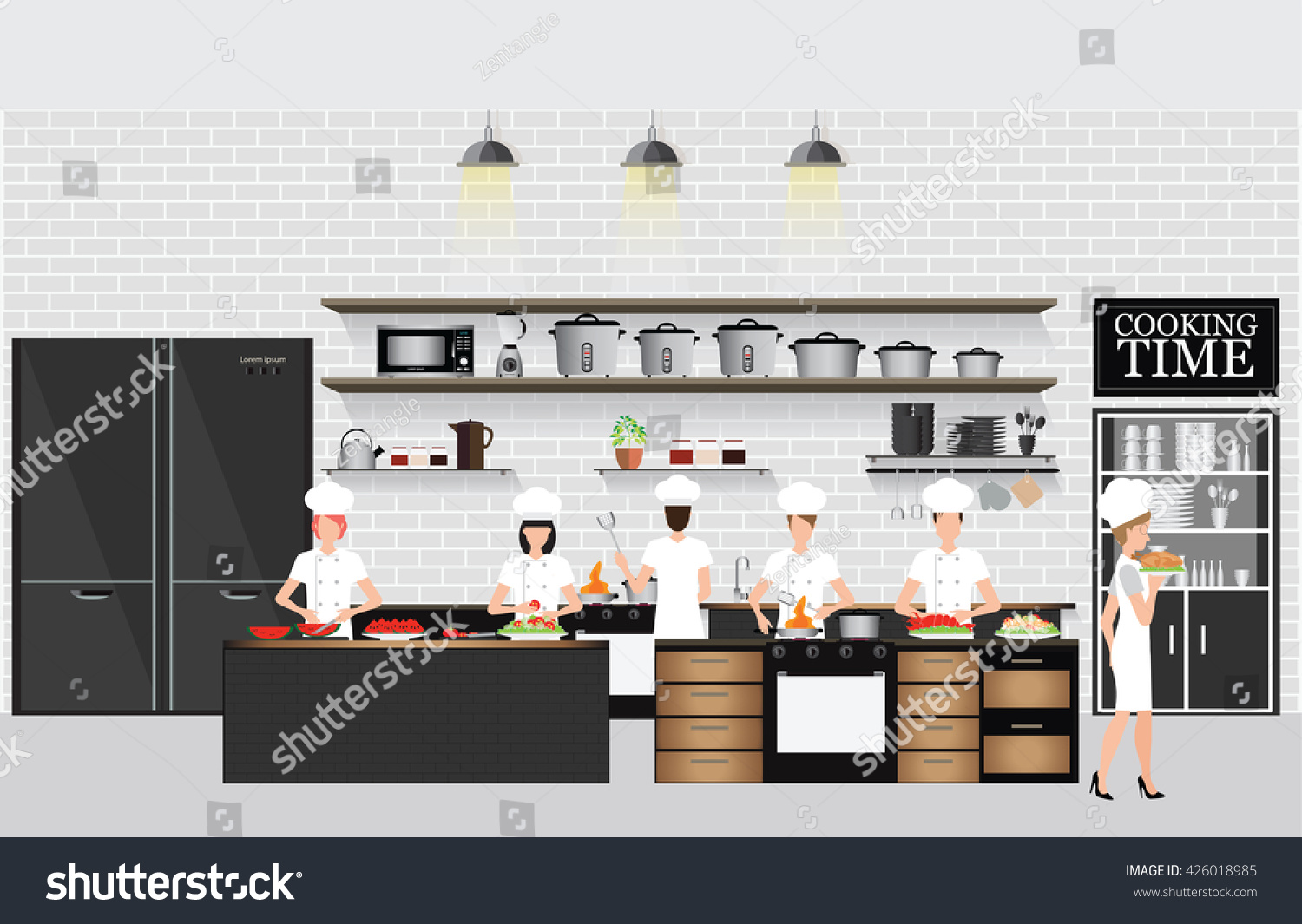 Restaurant Kitchen Illustration chefs cooking table restaurant kitchen interior stock vector