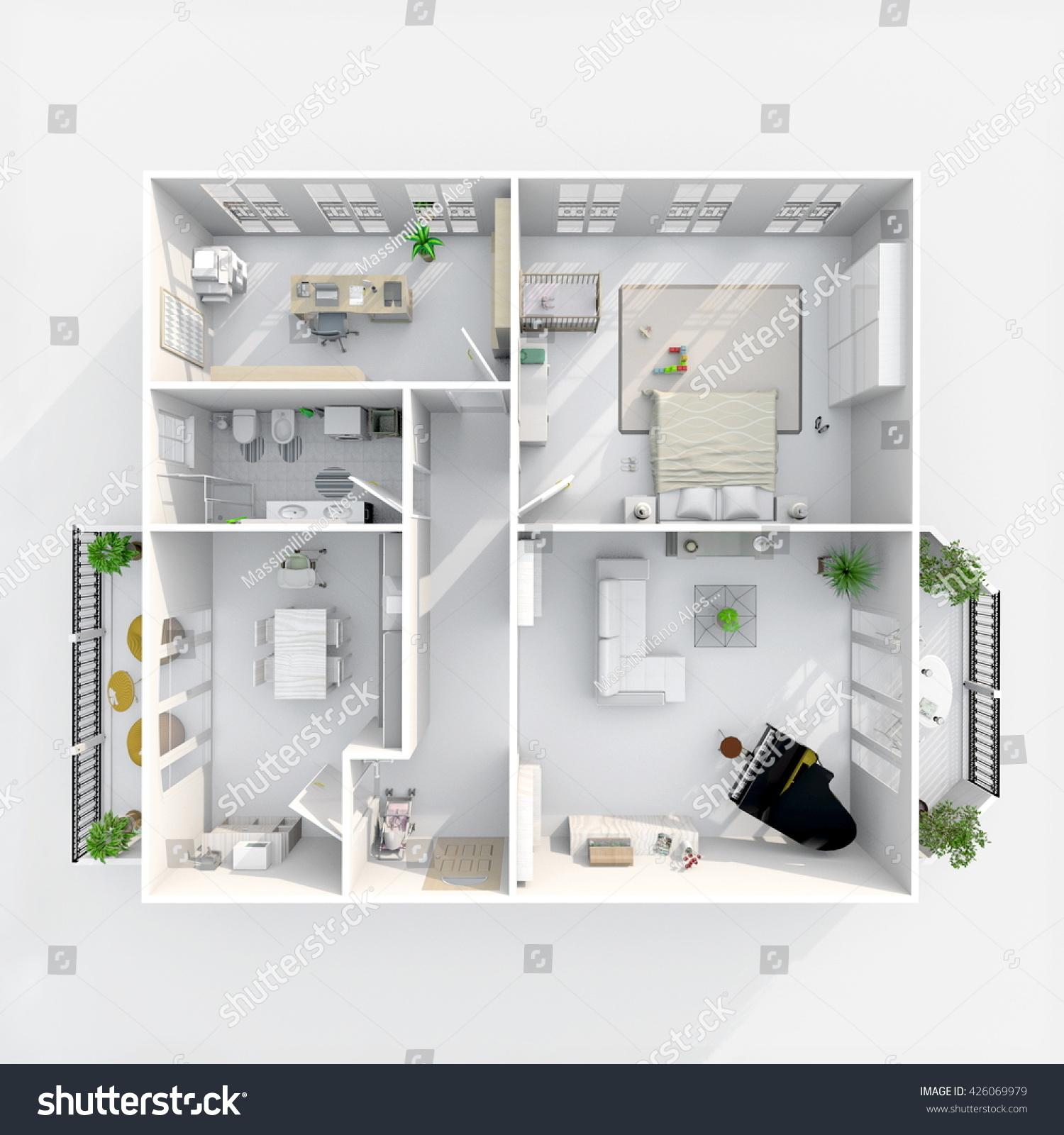 3d interior rendering plan view furnished stock for Living room bedroom bathroom kitchen
