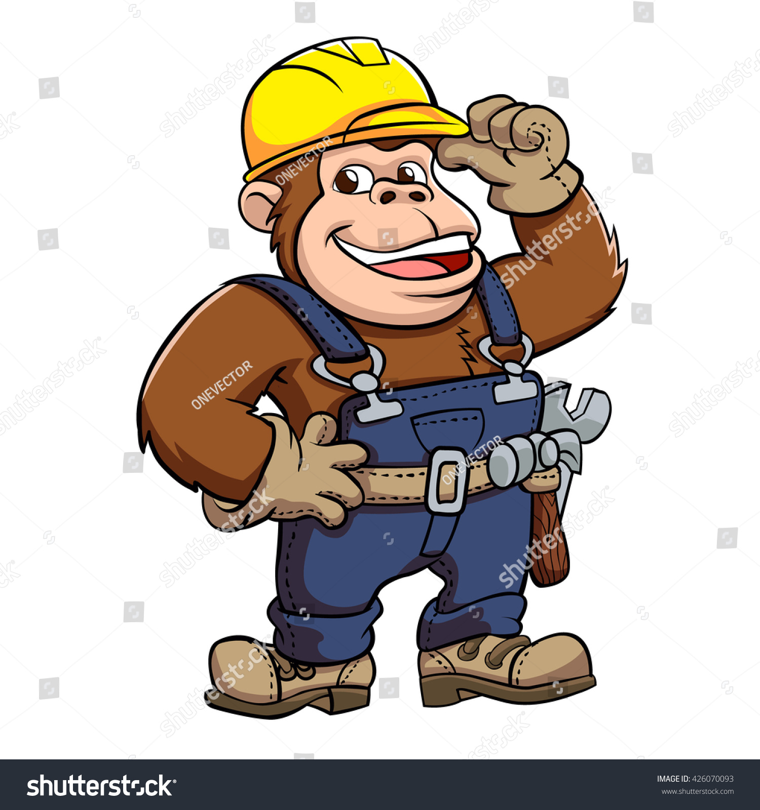 Cartoon Gorilla Handyman Stock Vector 426070093