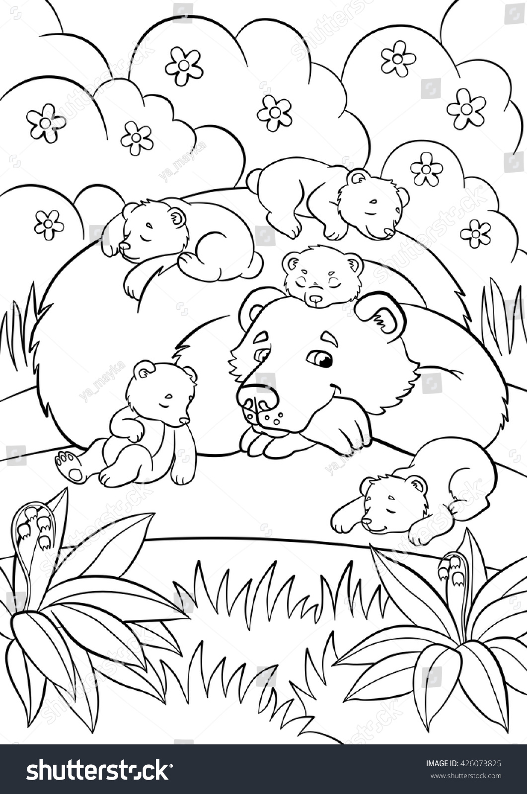 coloring pages wild animals kind bear stock vector 426073825 shutterstock. Black Bedroom Furniture Sets. Home Design Ideas