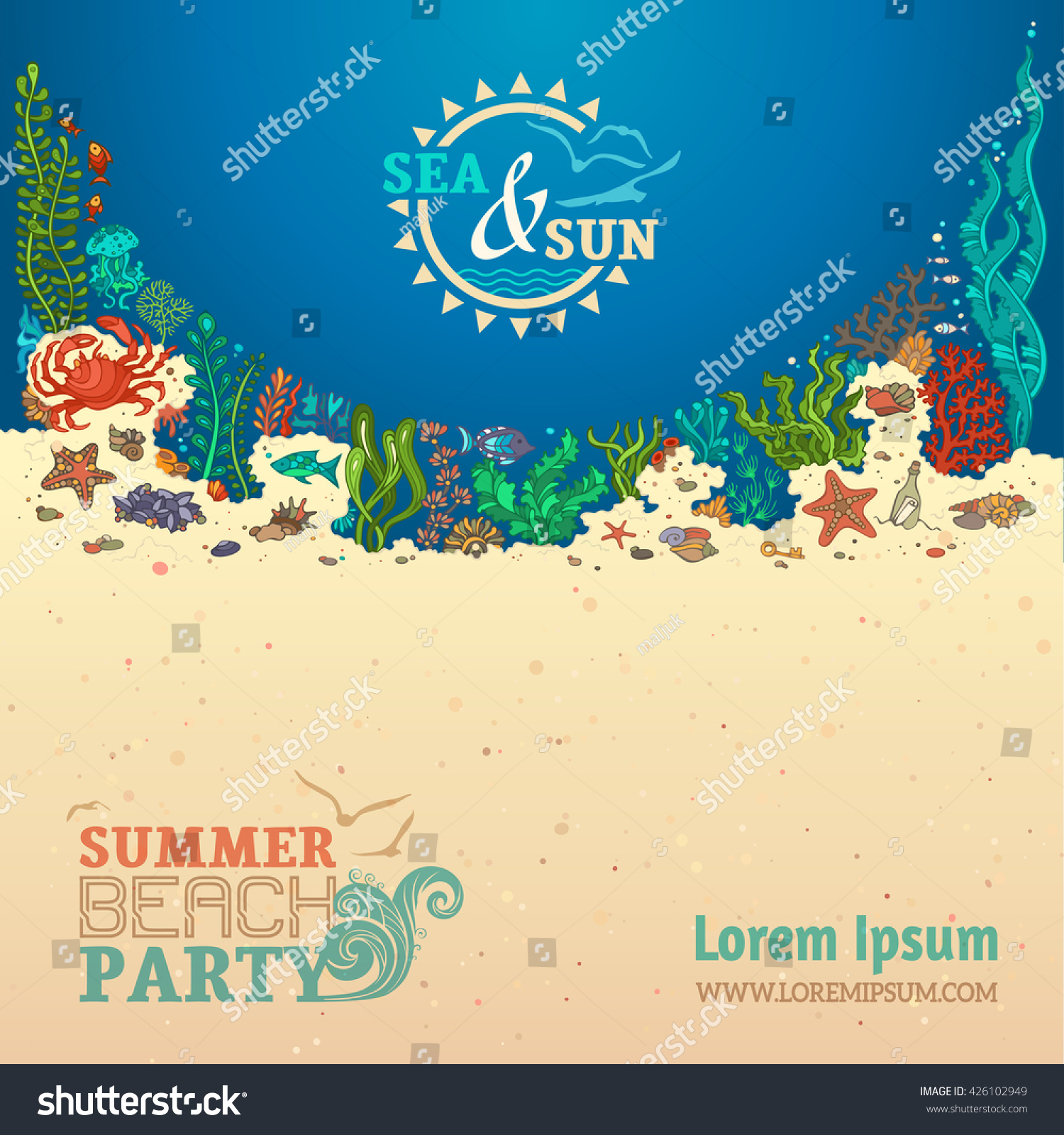 Summer Sealife Background Sea Sun Colourful Stock Vector Royalty