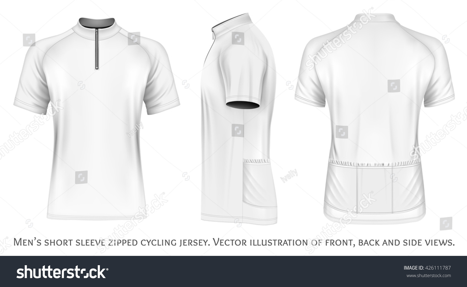 Vector men s polo shirt design template front view polo shirt with - Mens Short Sleeve Cycling Jersey Short Stock Vector