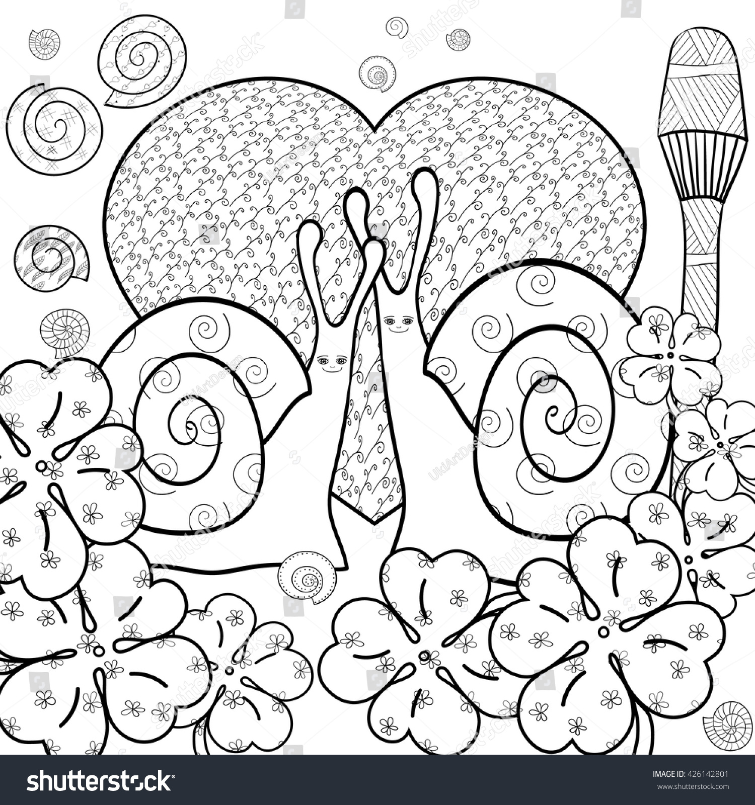 Whimsical designs coloring book - Cute Snail Adult Coloring Book Page Snails In Whimsical Garden Big Heart Summer