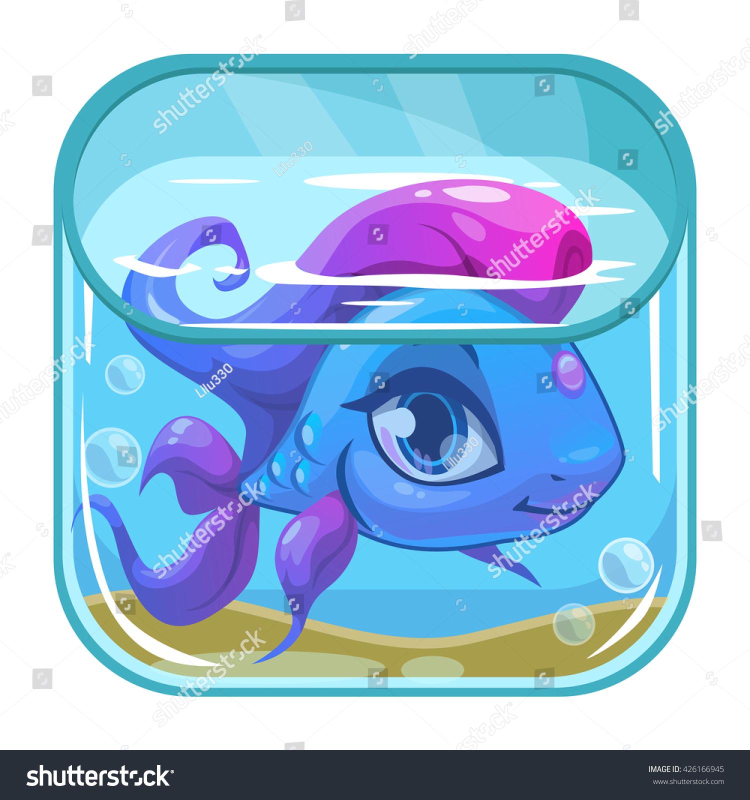Aquarium fish tank game - Aquarium Game App Icon Beautiful Fish In A Square Tank Vector Application Store Icon