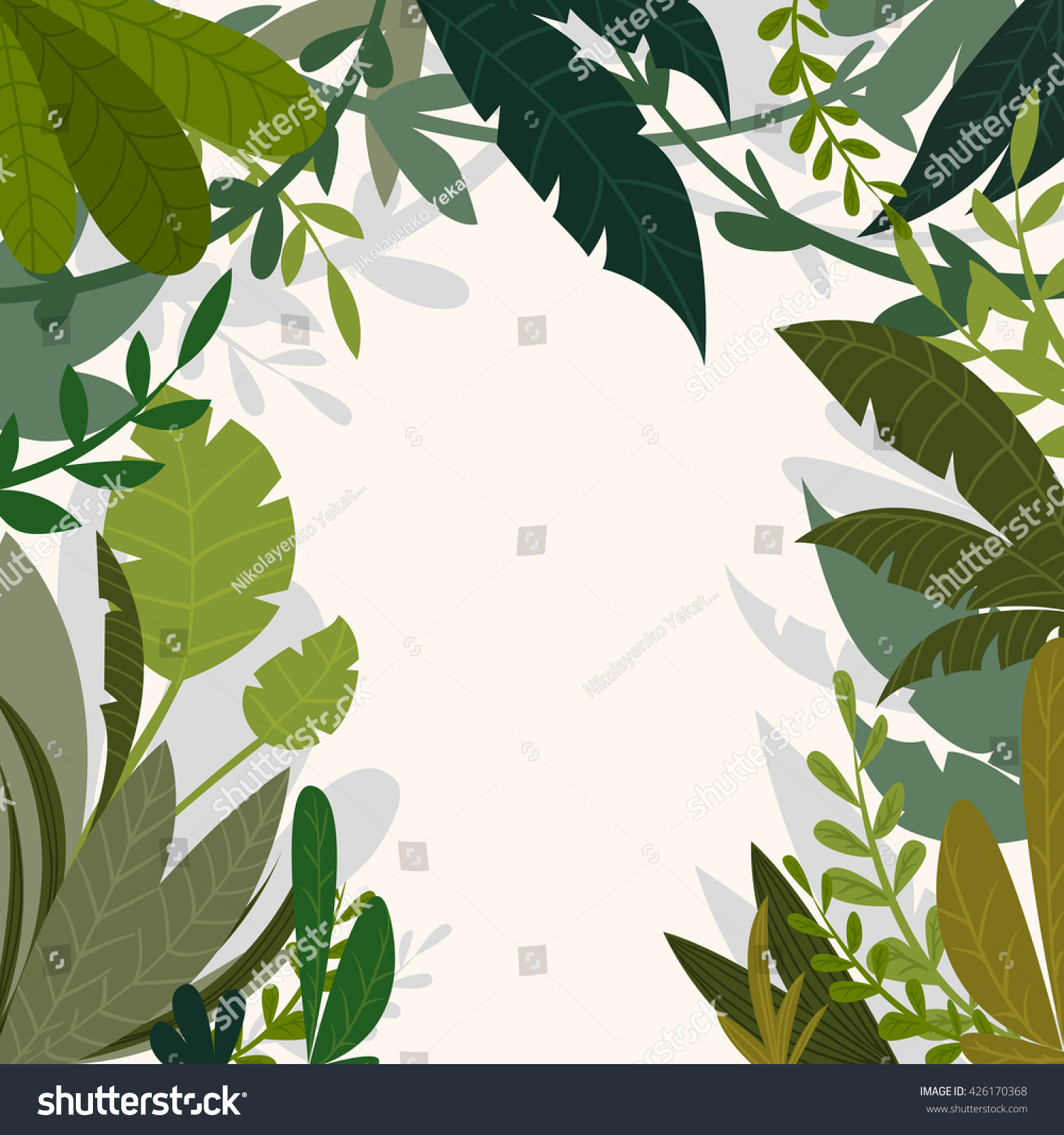 Tropical jungle background with palm trees and leaves in cartoon style Vector illustration