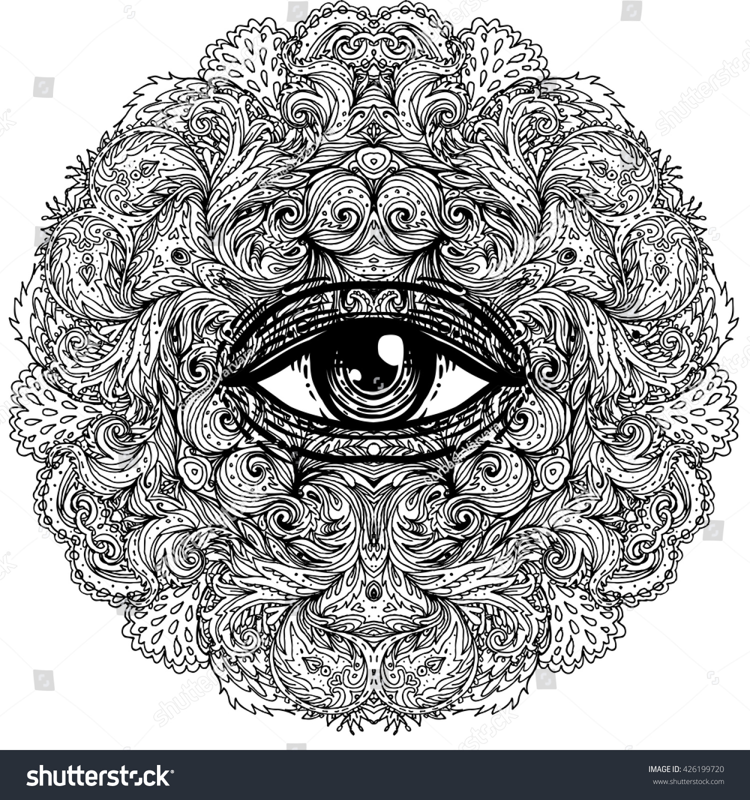 Mystical mandala coloring pages - All Seeing Eye In Ornate Round Mandala Pattern Mystic Alchemy Occult Concept